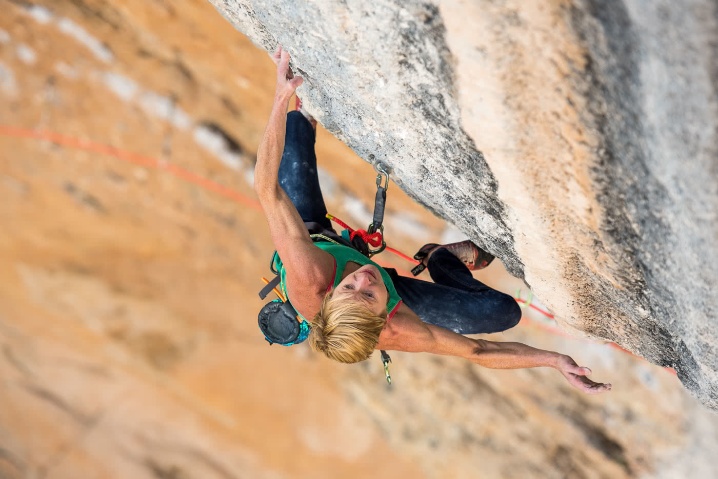 Monique Forestier, Photo by Simon Carter, Mind Control (8c+, 34), Oliana, Spain