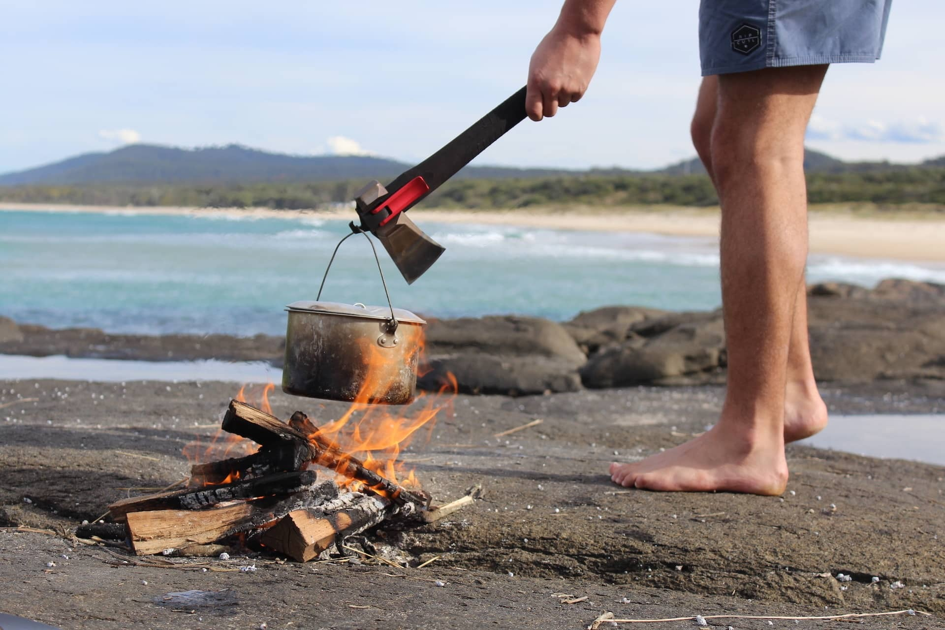 Adventure Mate, product imagery, tent hook, fire