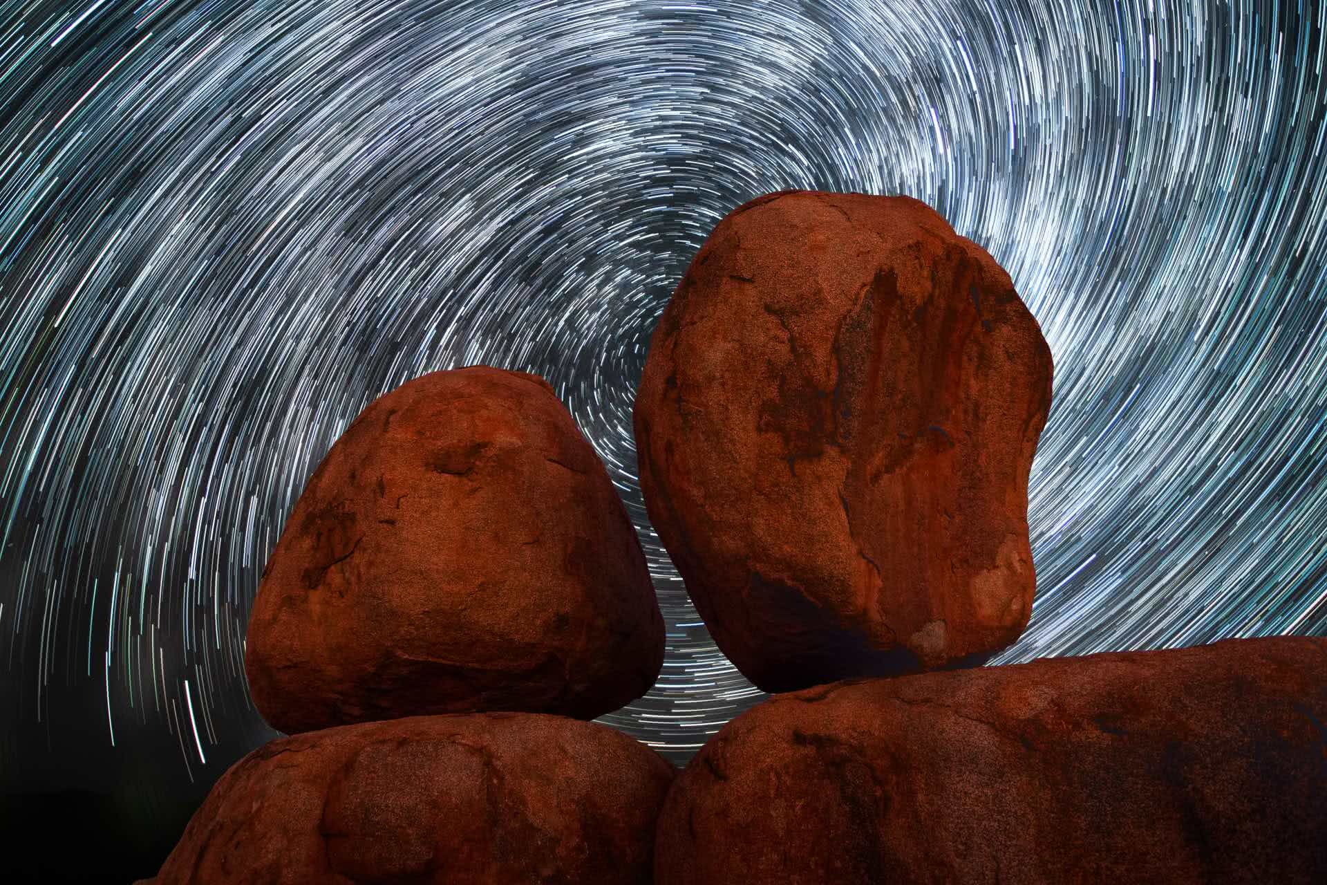 Roll the Devil's Marbles at Karlu Karlu (NT), Conor Moore, stars, astrophotography, rocks, boulders, sky