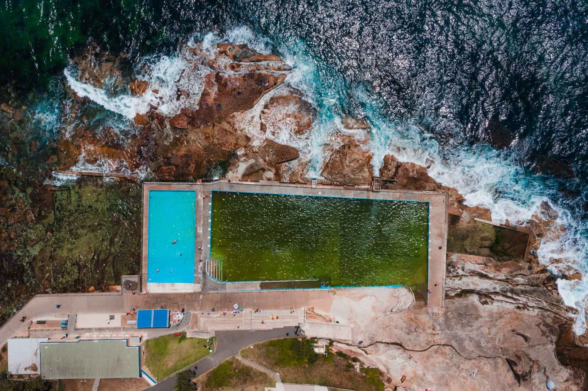 Here's All The Ocean Pools In Sydney's Northern Beaches, Jonathan Tan,Isa Wye Rock Pool, overhead shot, pool, ocean, rocks, waves, beach, sand