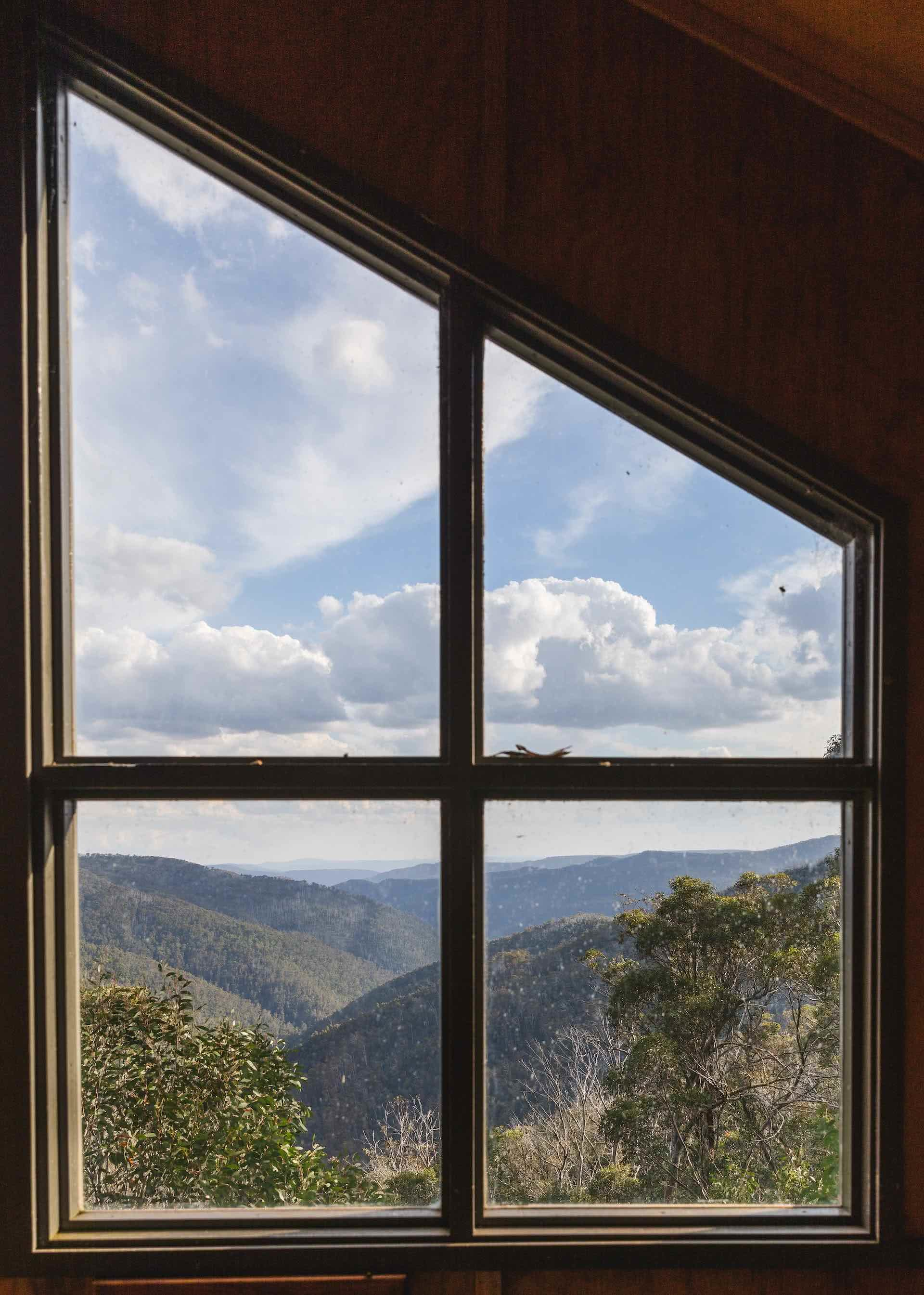 Conquer Mt Howitt And Tame The Crosscut Saw (VIC), Jamie Humby, mountains, trees, cabin, window