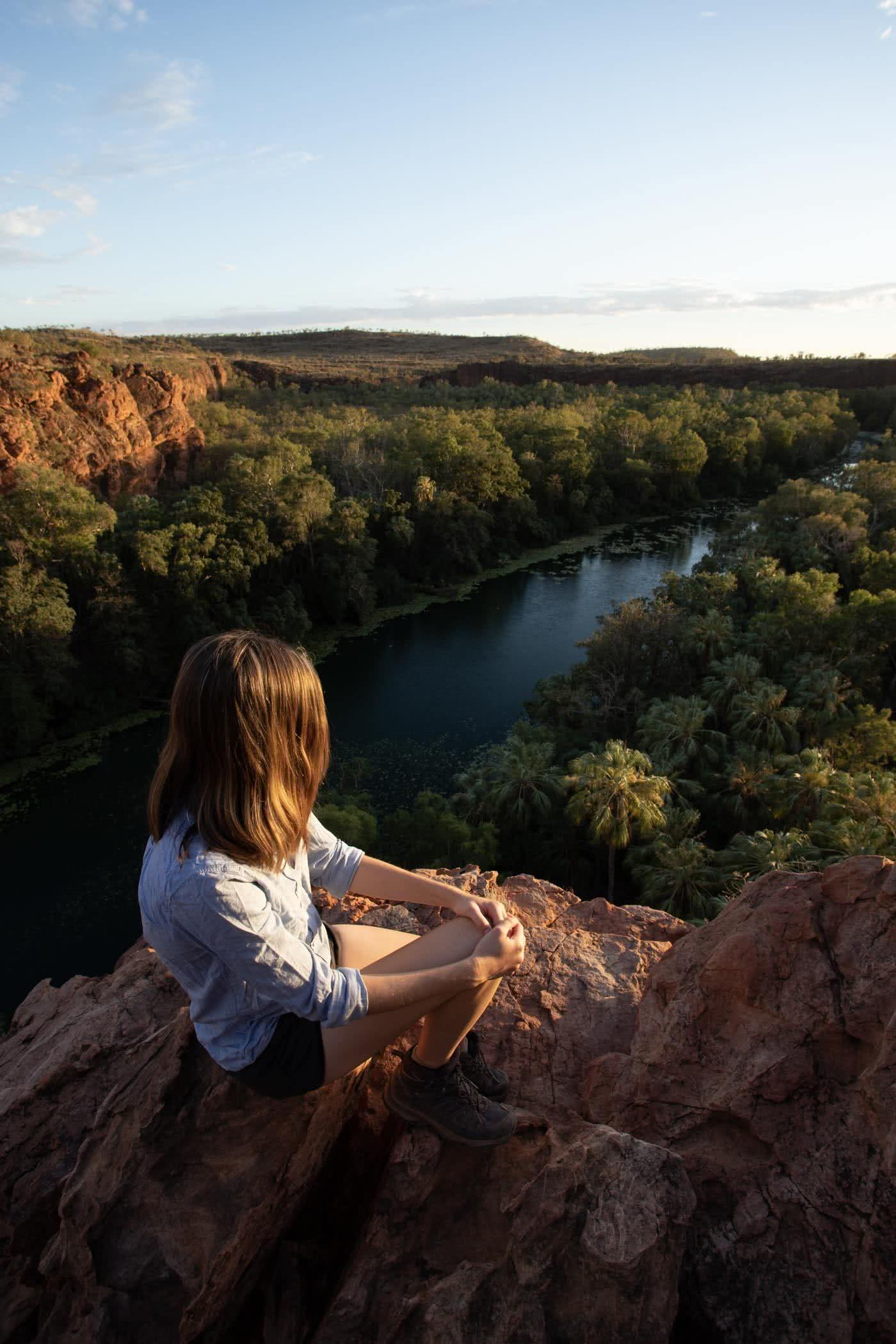 Oases Are Real! // Lawn Hill Boodjamulla National Park (QLD), Conor Moore, gorge, cliffs, river, trees, woman