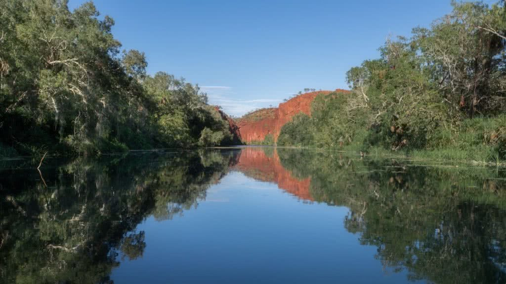Oases Are Real! // Lawn Hill Boodjamulla National Park (QLD), Conor Moore, gorge, river, red cliffs, trees, reflection