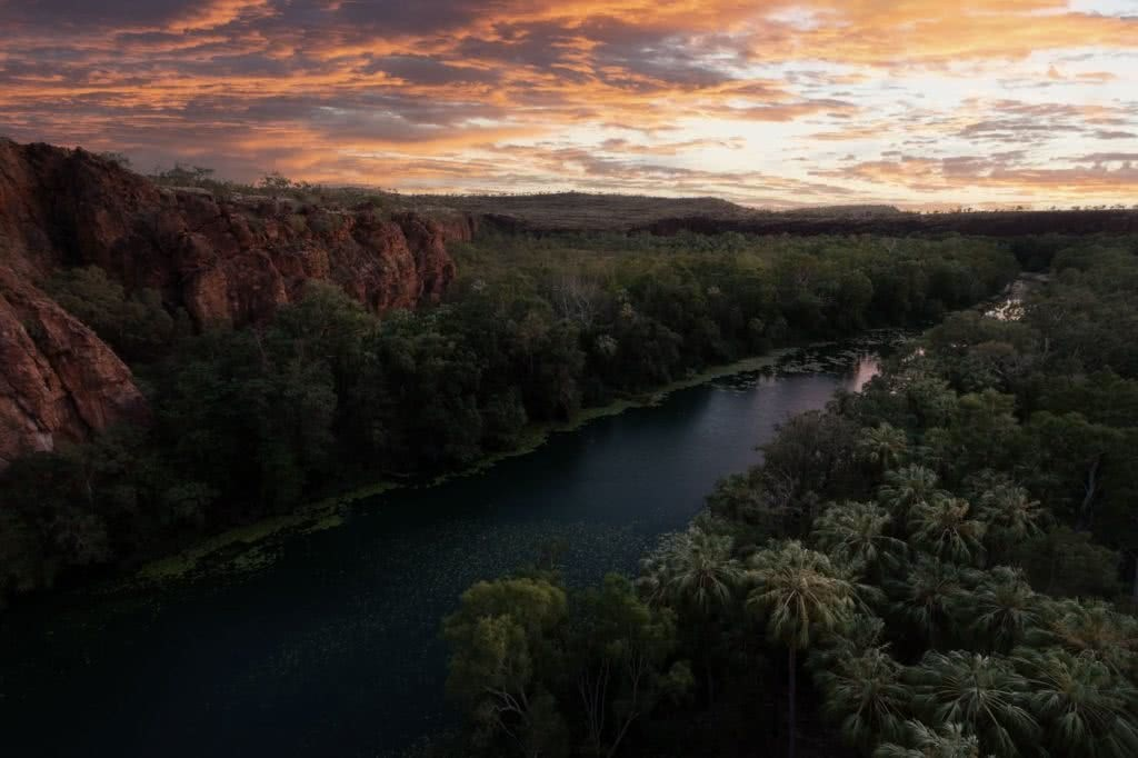 Oases Are Real! // Lawn Hill Boodjamulla National Park (QLD), Conor Moore, sunrise, gorge, river, cliffs, trees