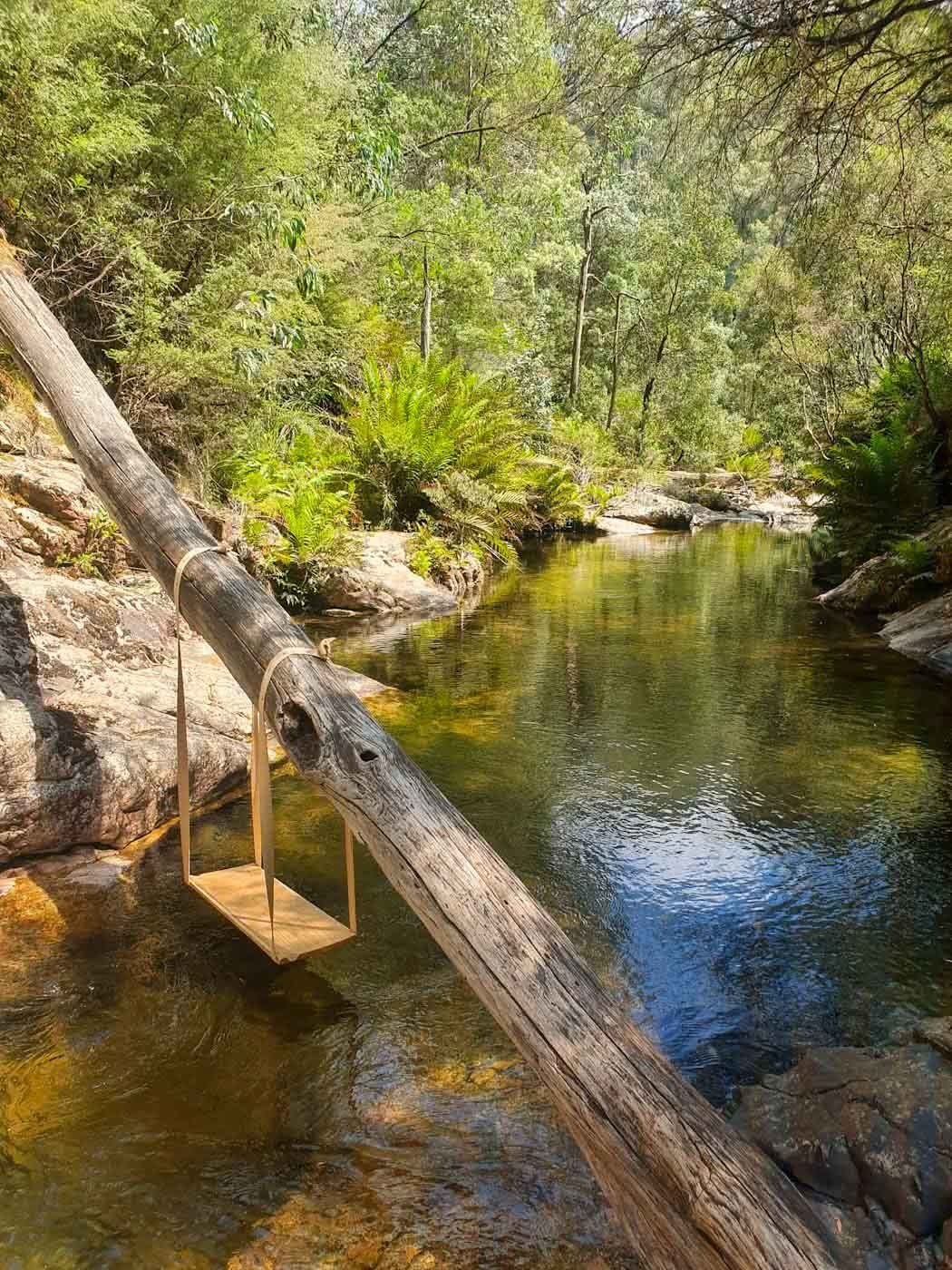 Cooling Down in Rollasons Falls // Mount Buffalo NP (VIC), Angela (), swing, tree trunk, river, trees, bush, waterfall