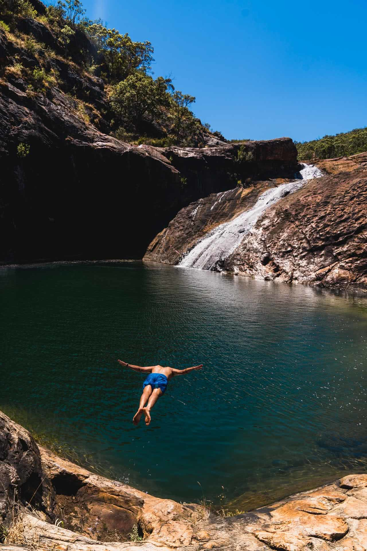Slither Your Way To Serpentine Falls // Serpentine (WA), Jonathan Tan, waterfall, diving, water, rocks, pool