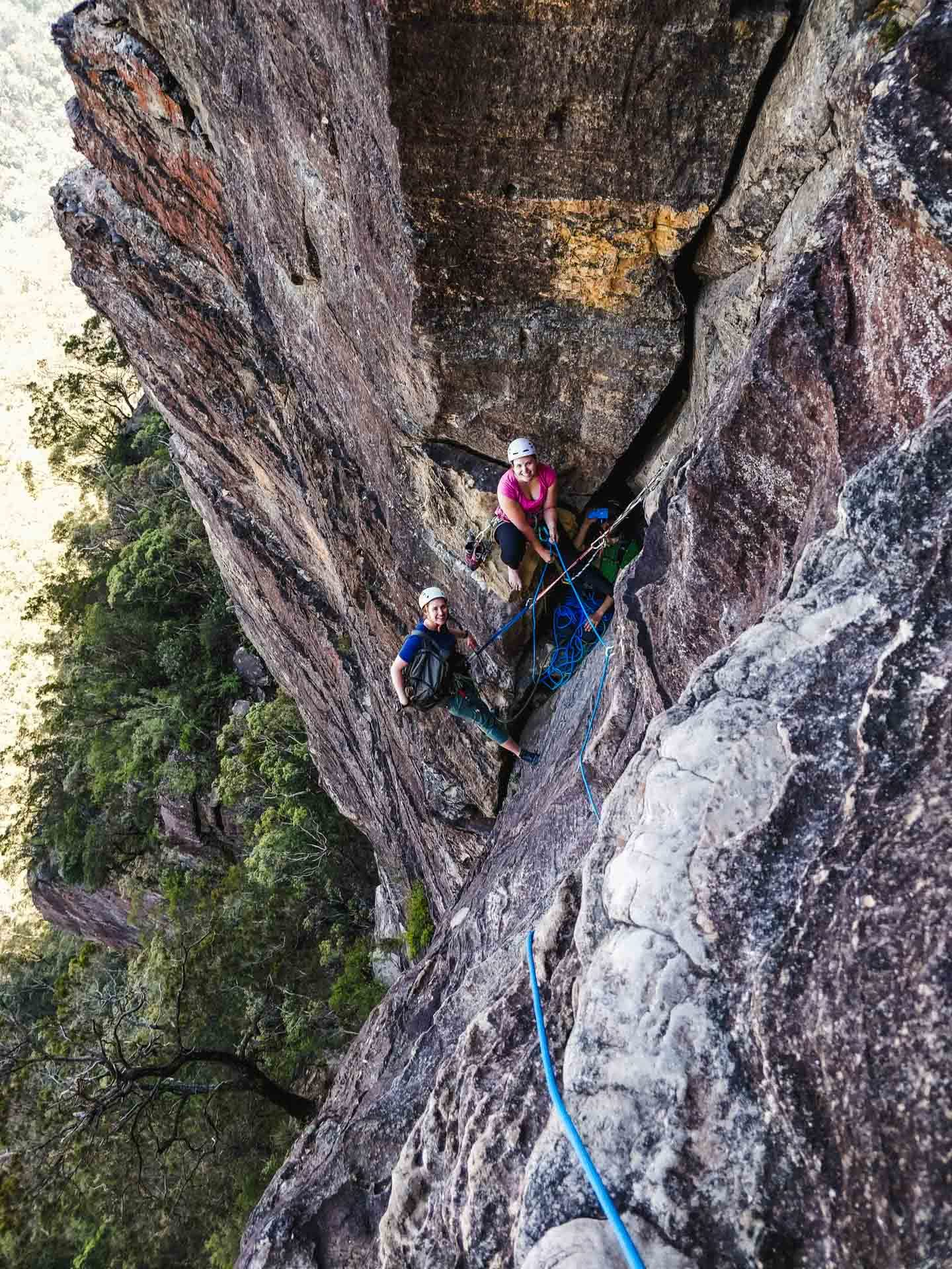 photo by Wendy Bruere, climbing Sweet Dreams, multi pitch, Sublime Point, Blue Mountains, NSW