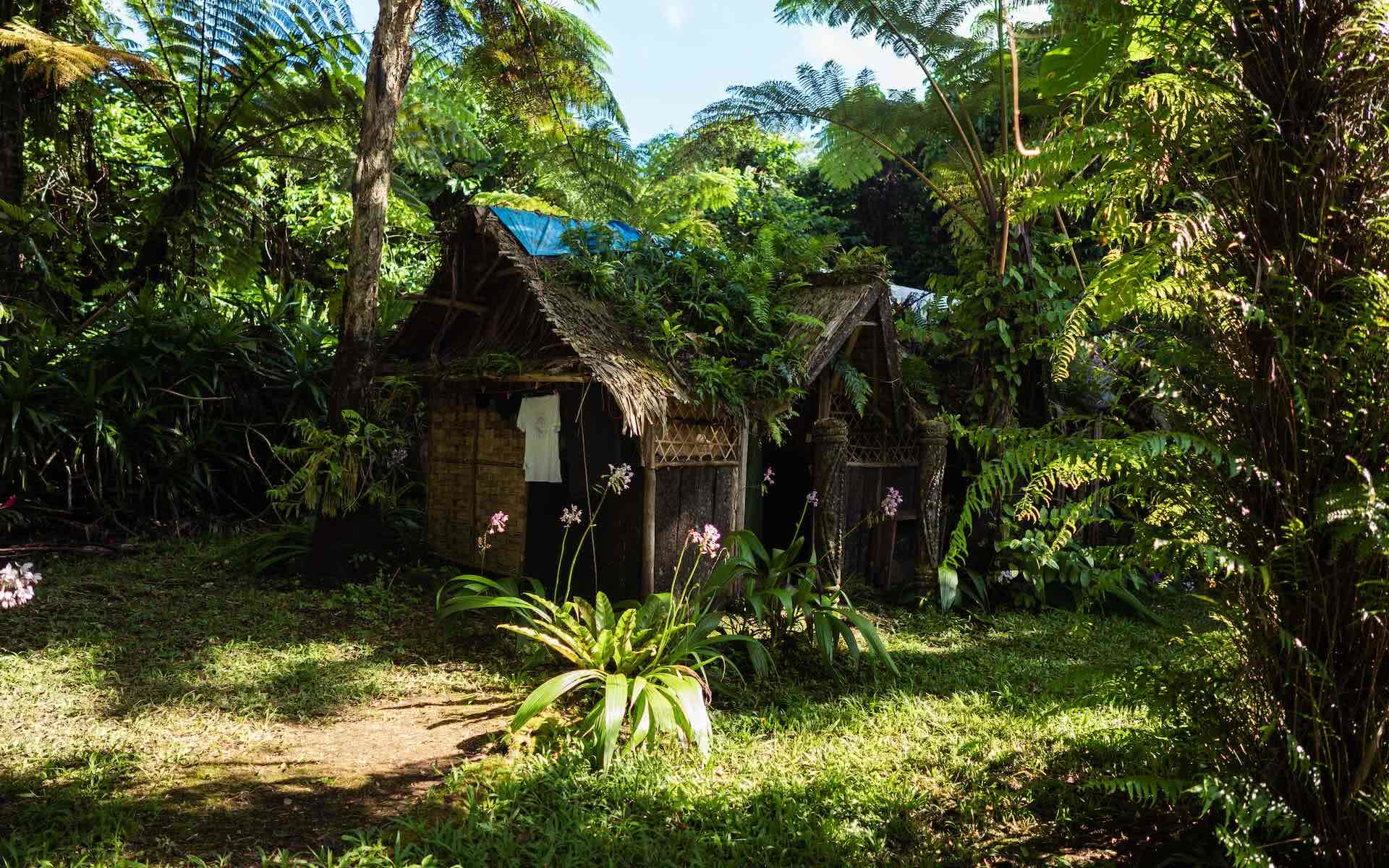 The Best Places to Stay in the Outer Islands of Vanuatu, photos by Ben Savage and Ain Raadik, Ruby Claire, Gaua, Victors campsite, hut, palm trees, home, accommodation