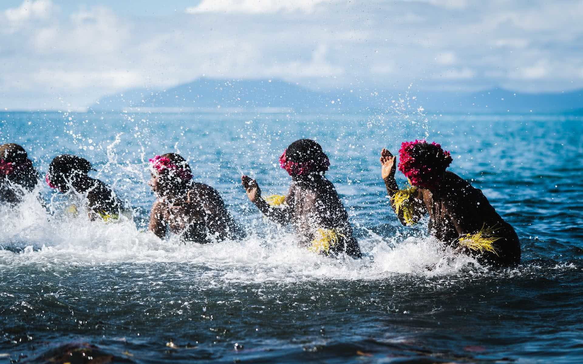 The Best Places to Stay in the Outer Islands of Vanuatu, photos by Ben Savage and Ain Raadik, Ruby Claire, Gaua, Ladies water dance, water music, women, dancing, ocean