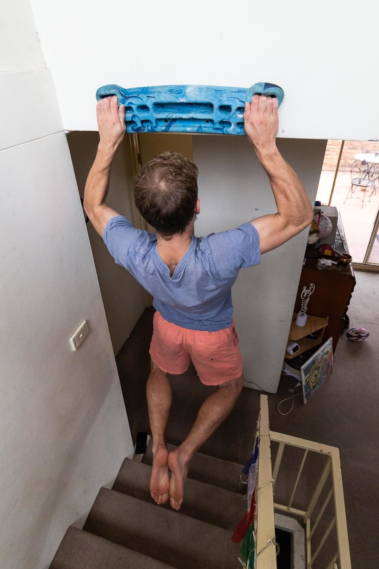 Eoin Coleman hangboard, adventures in the home, photo by Tim ashelford, rock climbing, training