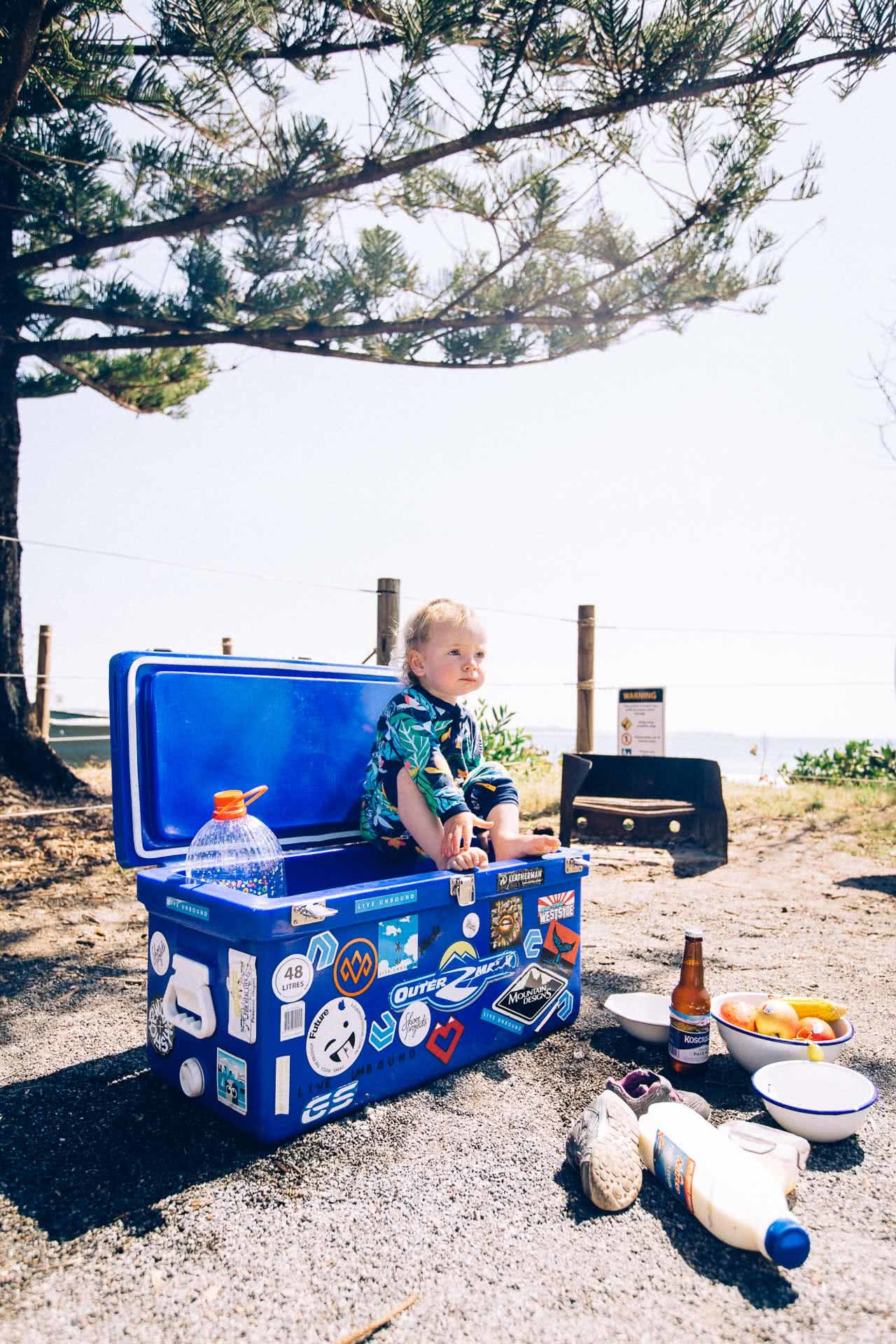 Stay Home Is the Order, but what if You're a Nomad?, photo by Henry Brydon, sandon river, car camping, nomads, baby, esky, cooler