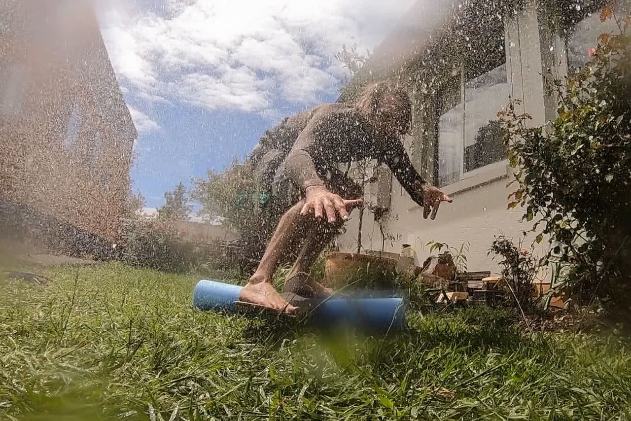 how to adventure at home, backyard, surfing, mattie gould, sprinkler