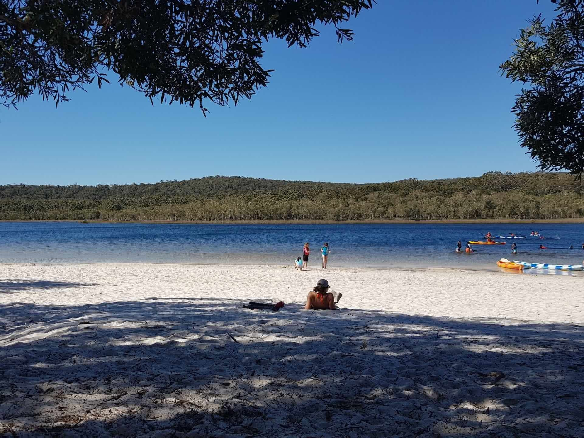 North Stradbroke Island is the Ultimate Brisbane Bikepacking Trip, Myrthe Braam, Brown Lake, beach, woman, island, relax, sunbake