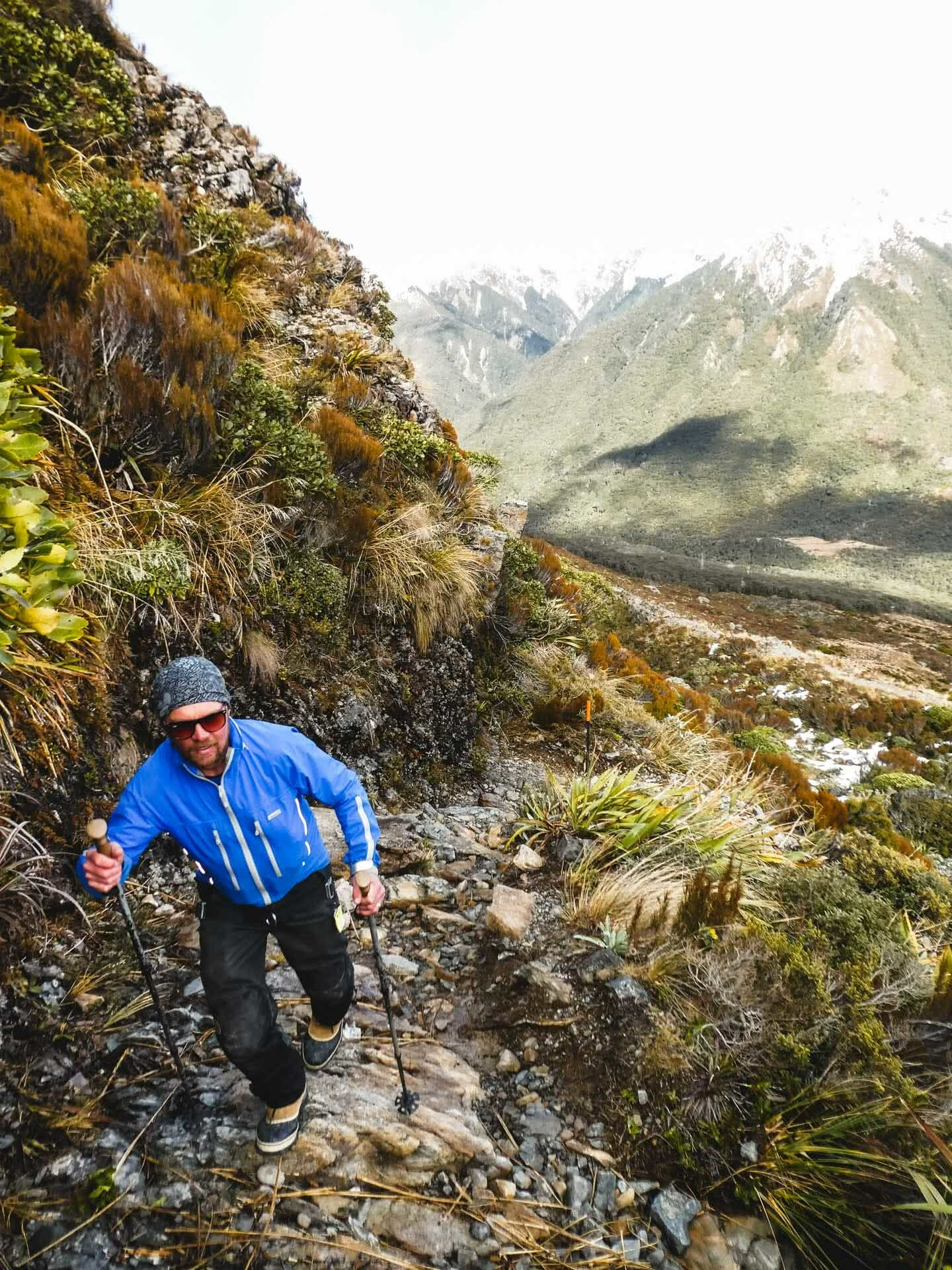 21 Laurence climbing up the access walking track to Temple Basin ski area, 24 Incredible Ski Fields & Resorts in New Zealand, Huw Kingston, New Zealand