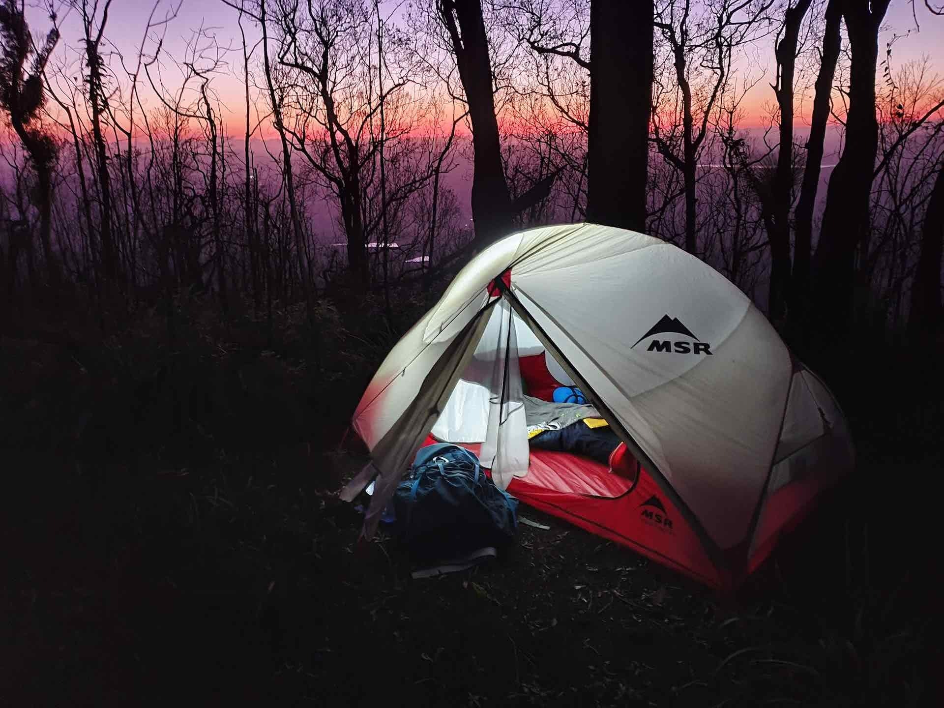 Laidley Creek Camping, overnight hikes near brisbane, Photo by Mitchell Quinn, sunset, tent, camping, MSR, main range national park, south east queensland