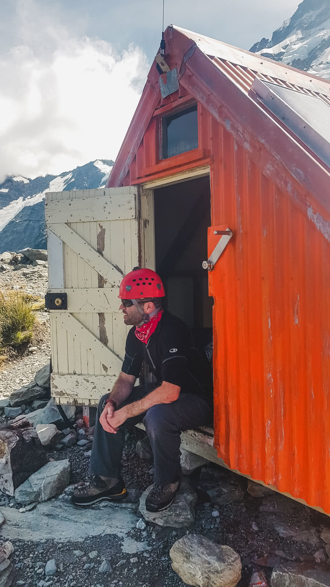 The Sefton Bivvy Route is Far Above the Aoraki Crowds (NZ), Nick Baulch, Mt Cook, hut, man, mountain, hike, mountaineering