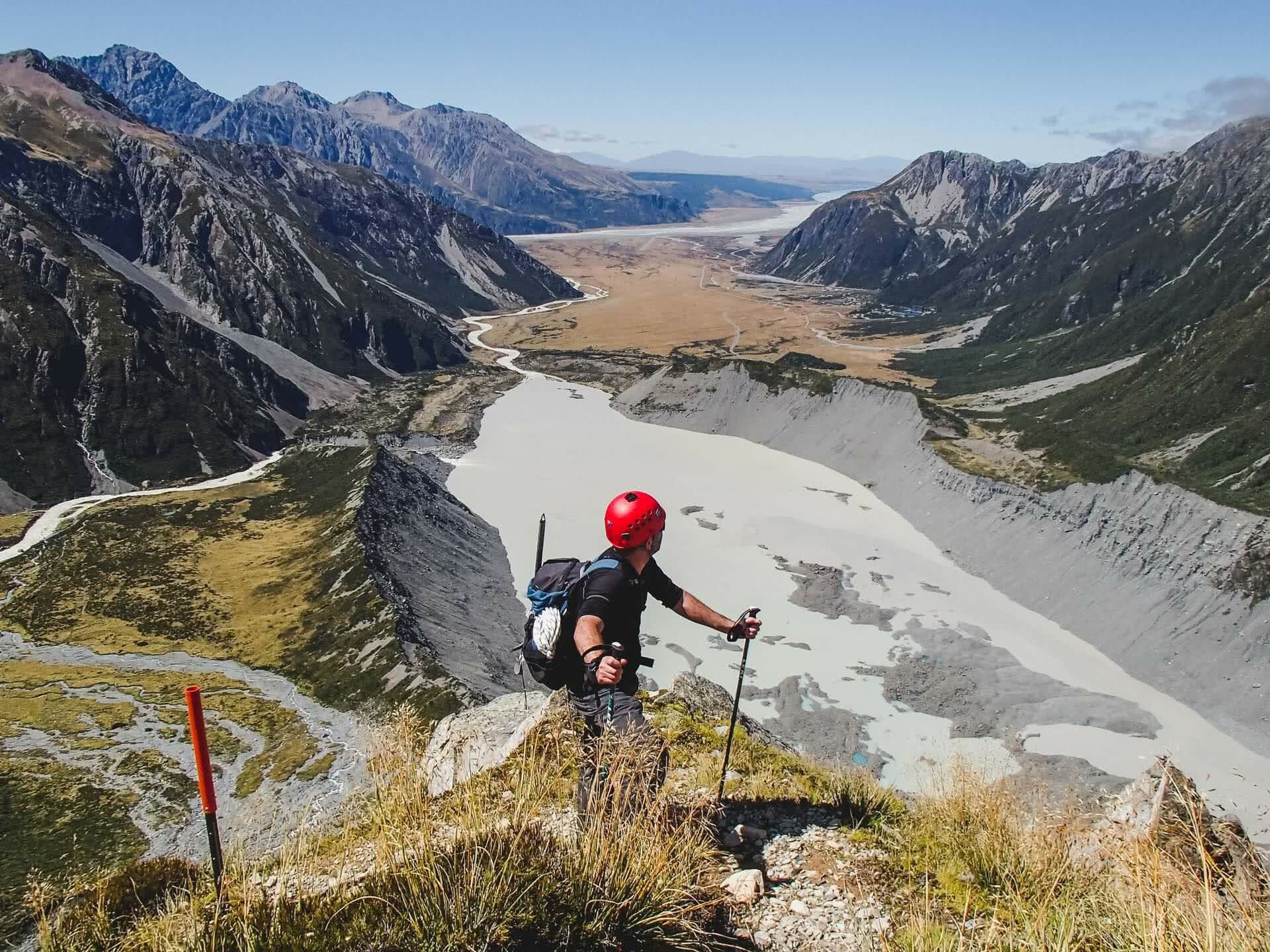 The Sefton Bivvy Route is Far Above the Aoraki Crowds (NZ), Nick Baulch, Mt Cook, man, hike, view, mountains, valleys, river, mountaineering,