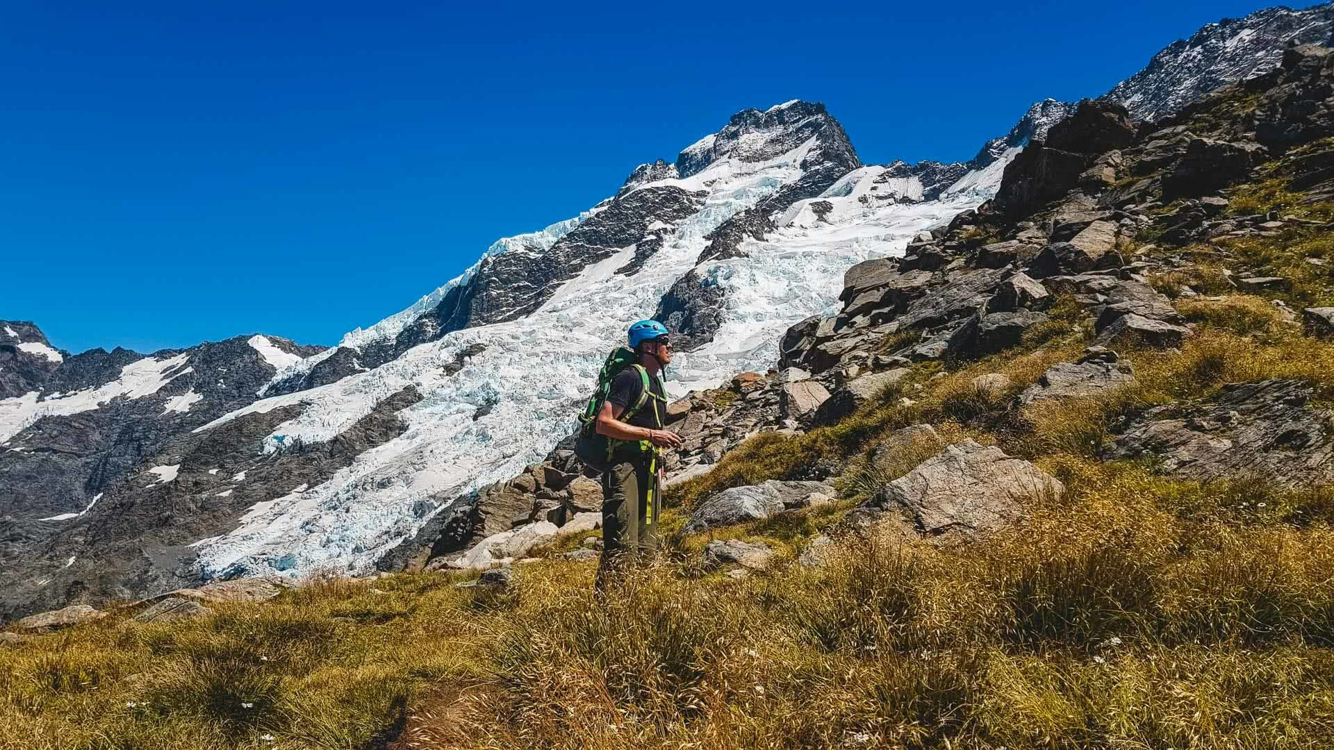 The Sefton Bivvy Route is Far Above the Aoraki Crowds (NZ), Nick Baulch, Mt Cook, mountain, man, hike, snow