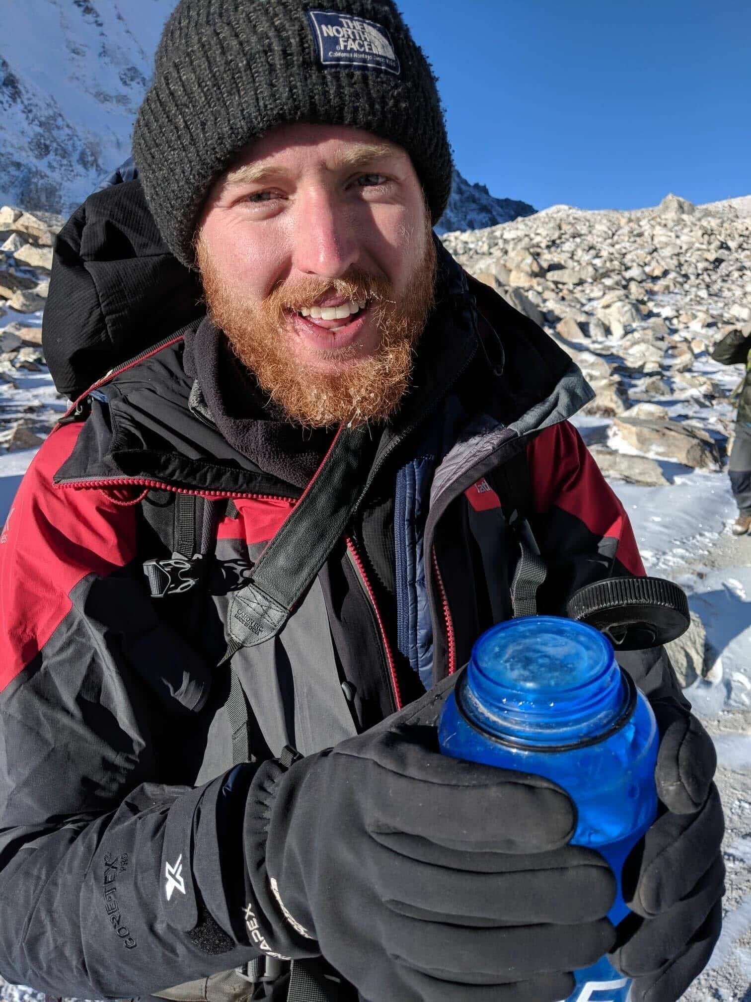 Tim with his frozen Nalgene water bottle