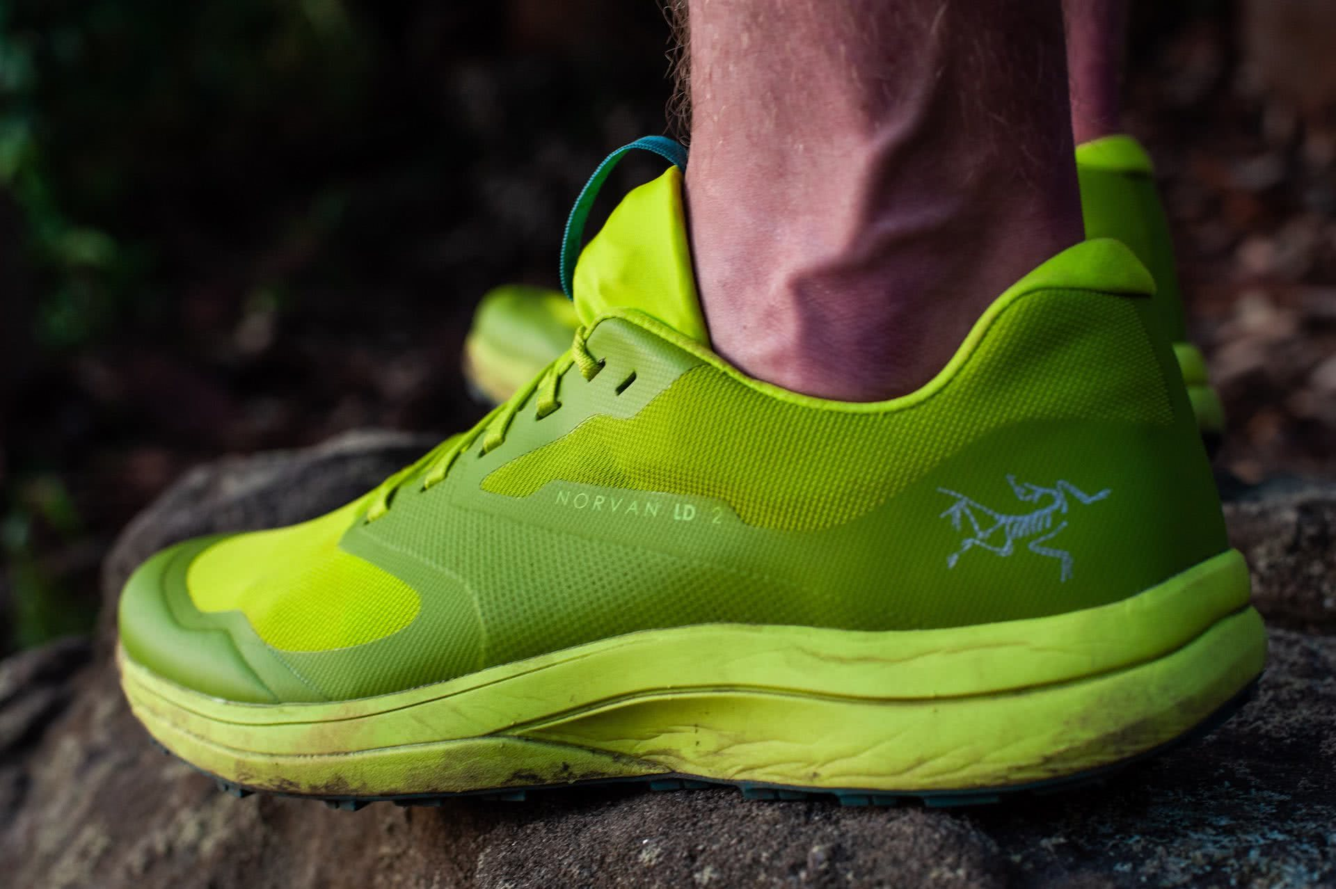 Arc'teryx Norvan LD 2 Trail Running Shoe // Gear Review, photo by Evan Andrews, trail runners, green, LIME GREEN, logo