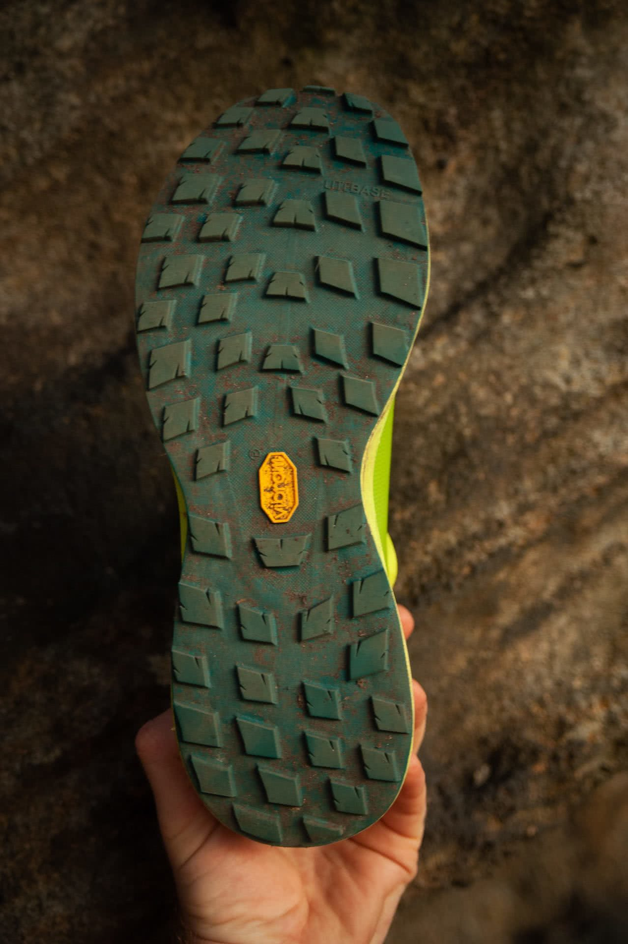 Arc'teryx Norvan LD 2 Trail Running Shoe // Gear Review, photo by Evan Andrews, trail runners, green, LIME GREEN,, sole, grip