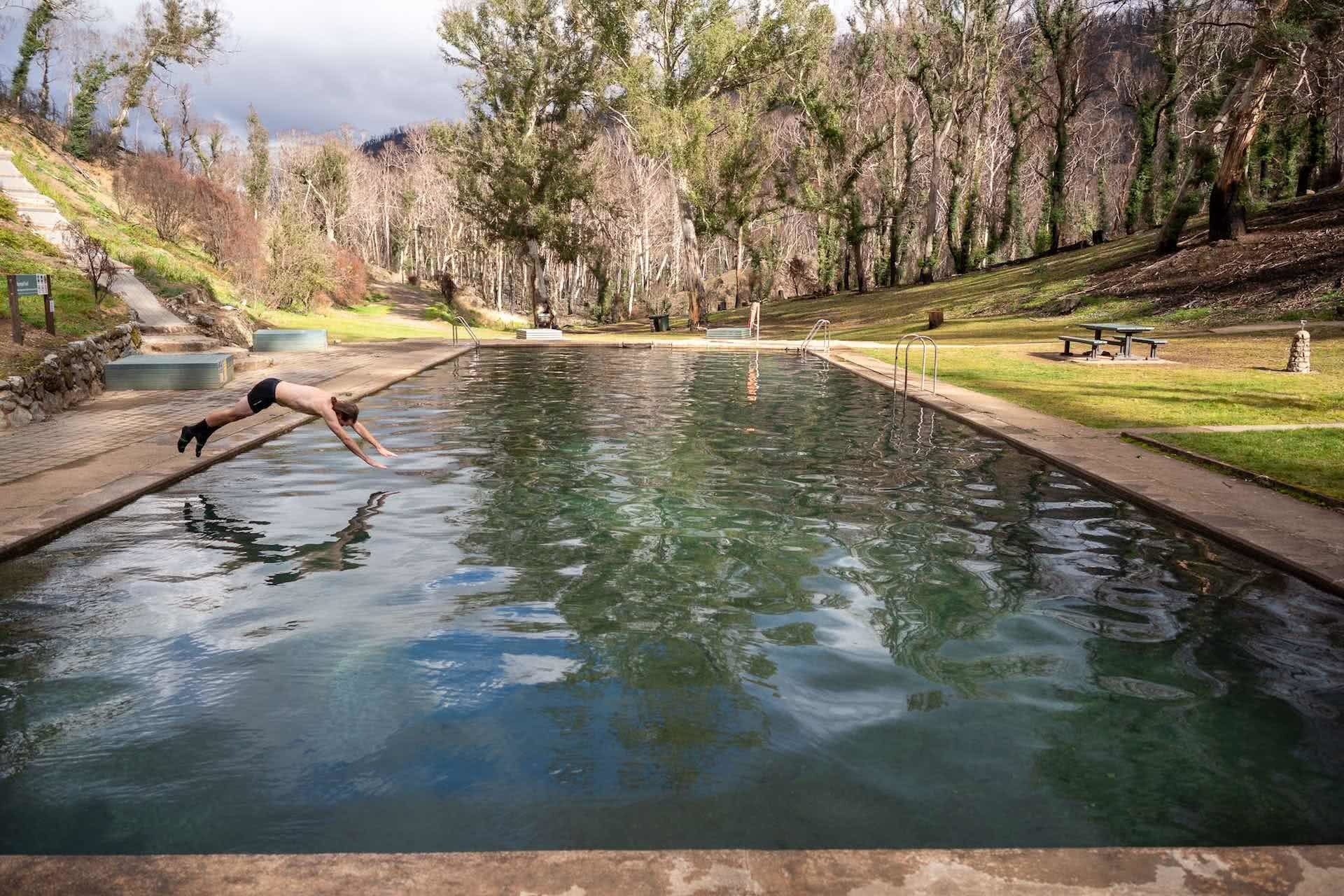 The Kiandra plains are a Winter Escape with Plenty to Offer by Mattie Gould, photo by Jon Harris, thermal pools, swimming