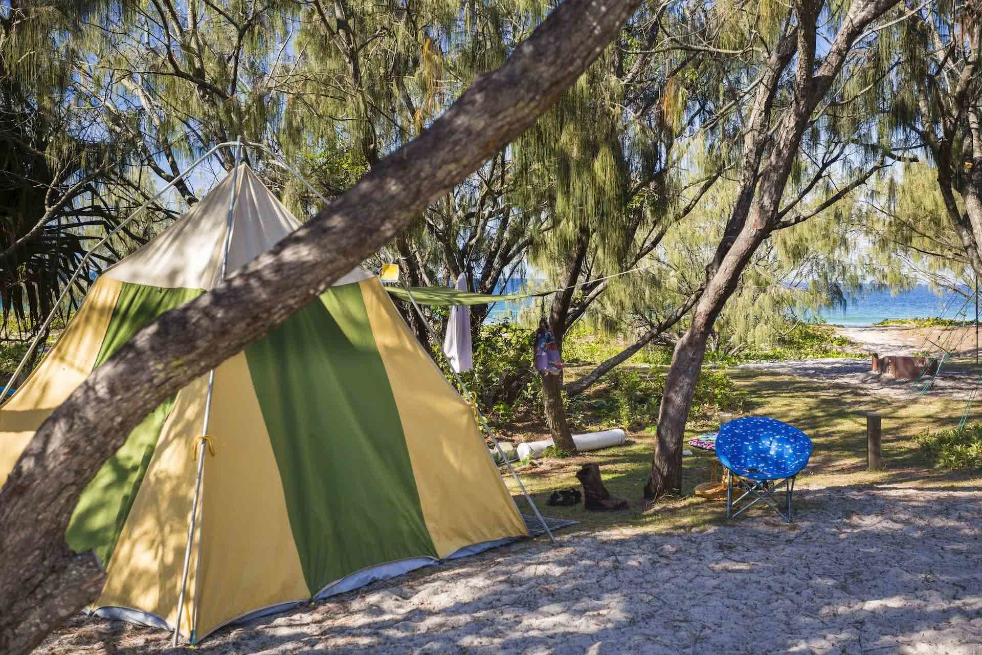 Best Free Campgrounds in Queensland, photos from Tourism and Events Queensland, beach camping, tent, trees, ocean