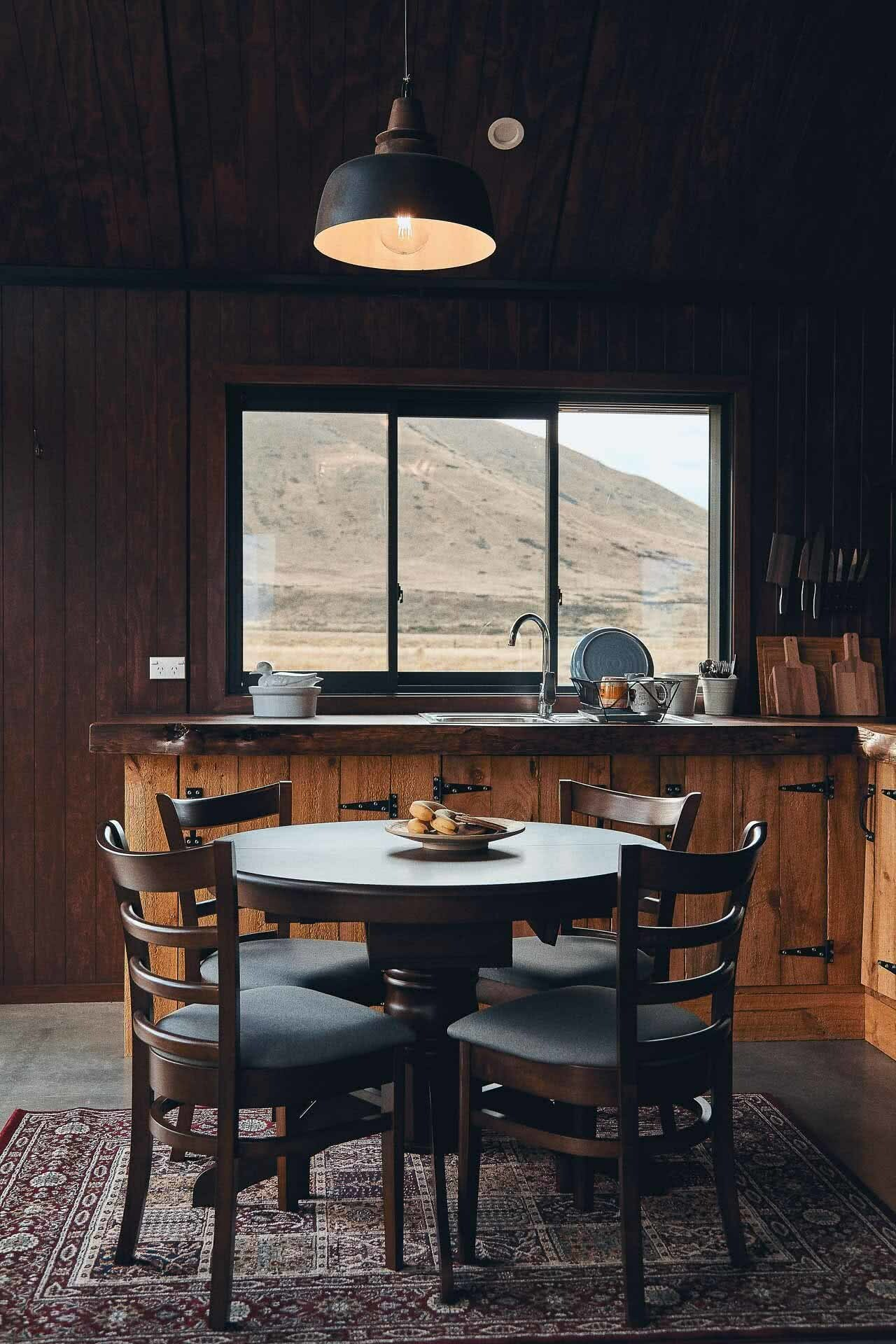 This High Country Cabin Offers the Wild Isolation We All Need Right Now, photo by Kenny Smith, cabin, isolation, twizel, south island, new zealand, dining room