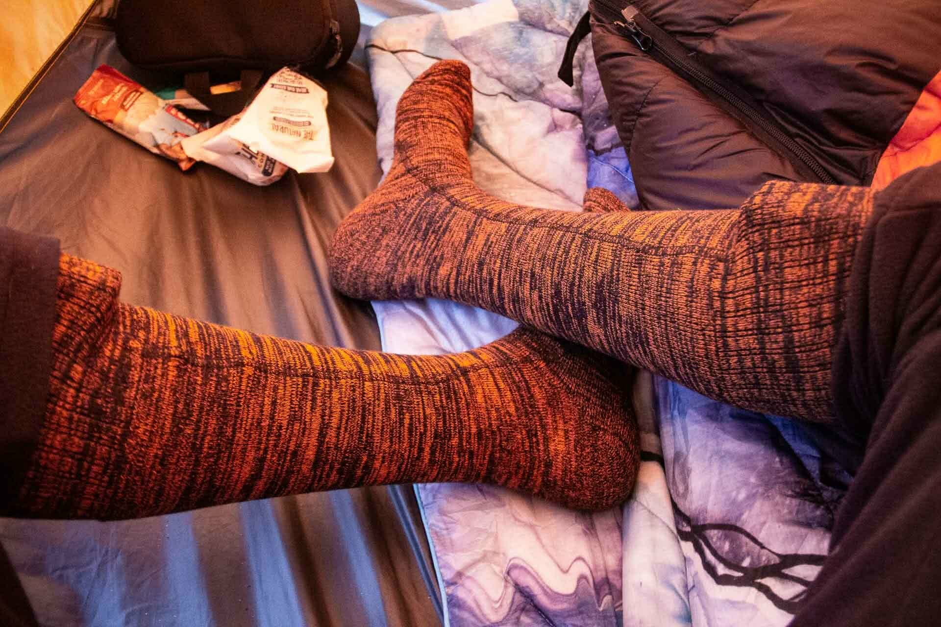ororo heated socks gear review, photo by tim ashelford, socks, tent, battery, warm
