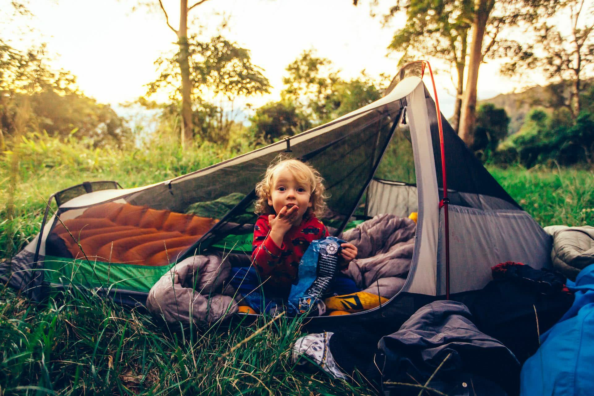 My First Overnight Hike With My Son, Henry Brydon, Black Wolf, tent, kid, camping, sleeping bag, smile, happy
