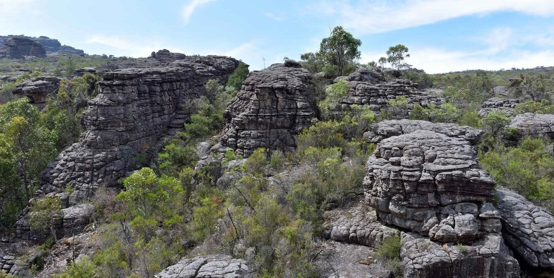Hiking Ancient Gariwerd – Stage One of the Grampians Peaks Trail, Emily Barlow, pancake stacked rocks, cliffs, mountains