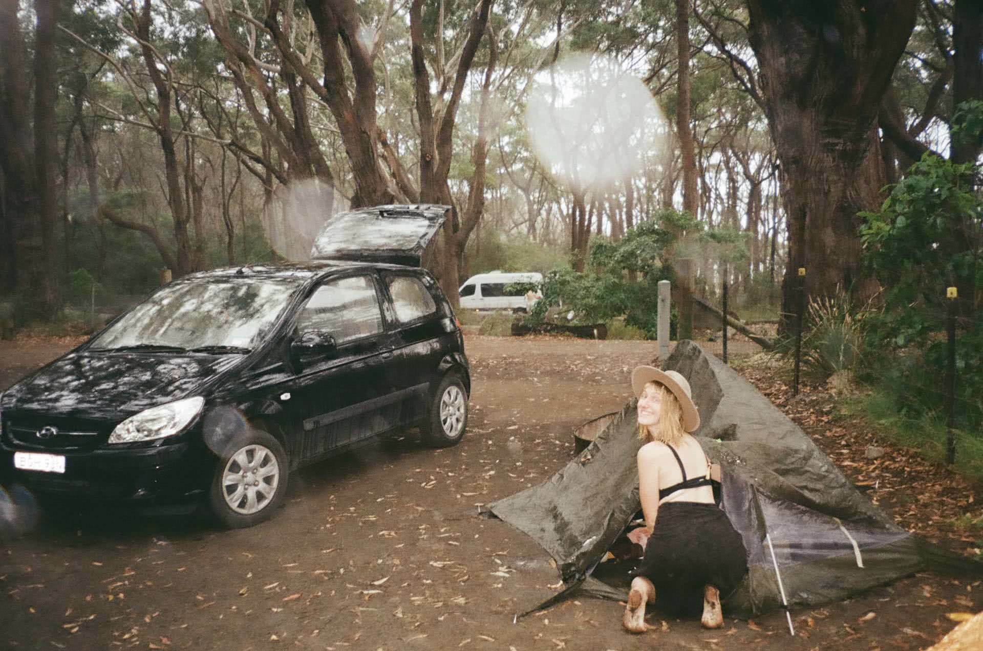 Aren't You Scared, Camping On Your Own?, Ruby Bisson, woman, tent, car, smile