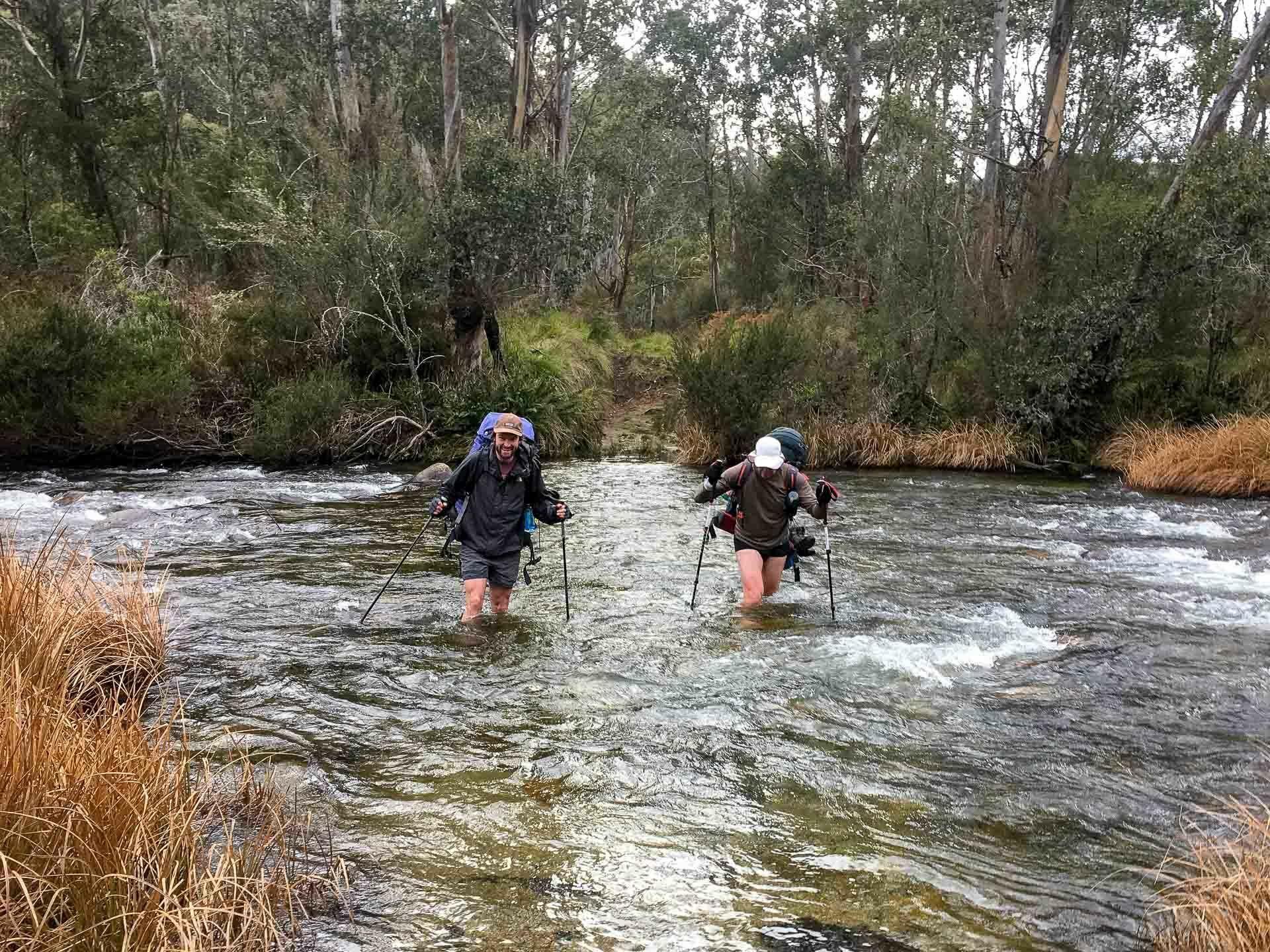 Hannels Spur – Climbing the Steep Western Face of Mt Kosciuszko, Richie Robinson, hannels spur, kosciuszko national park, nsw, river crossing, geehi river