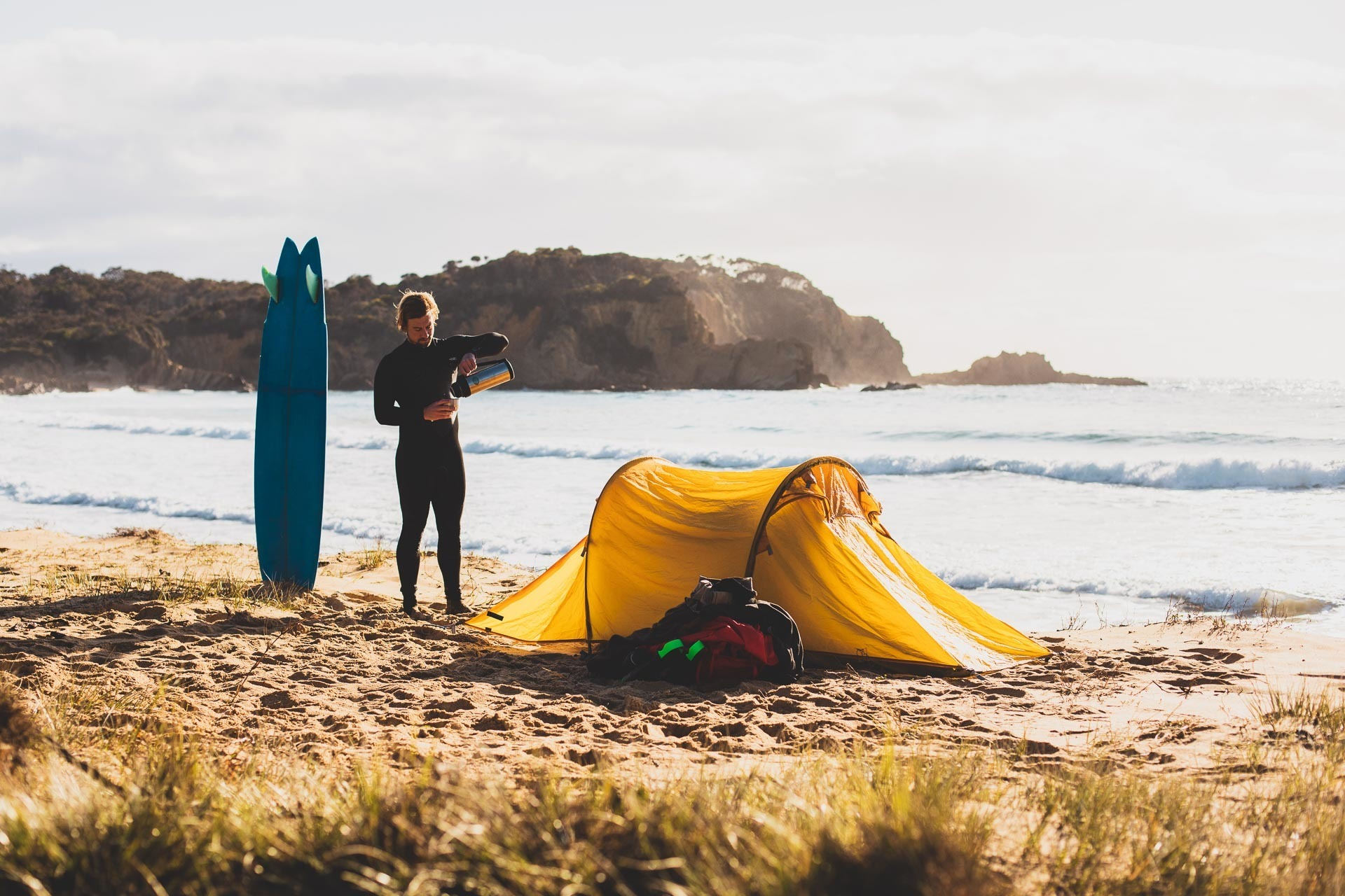 Sea to Summit in Australia – All In A Day's Work, guy williment, surf, camping, tent, beach, nsw, coffee
