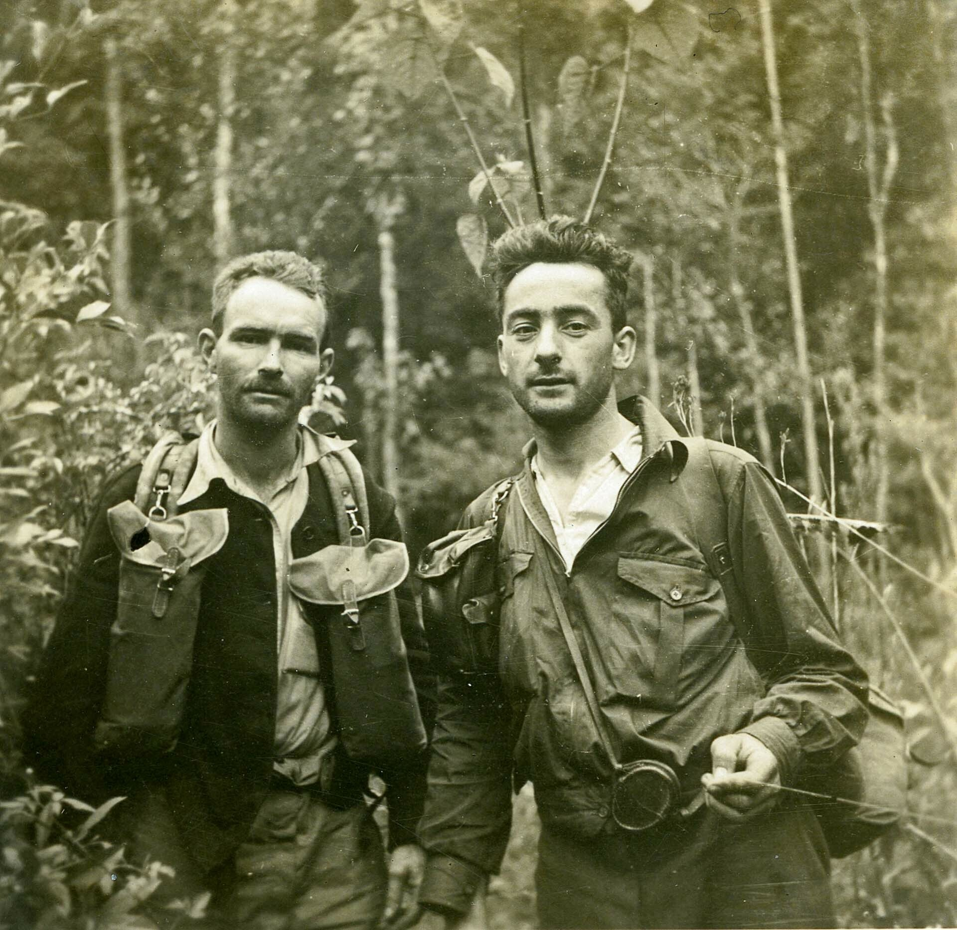 AH (Bert) Pelham (left) bushwalking in the Mid North Coast, possibly in company with Machin Hall (_) Blue Mountains City Libary, The Intriguing History (and Exciting Future) of Hiking Clothing, icebreaker