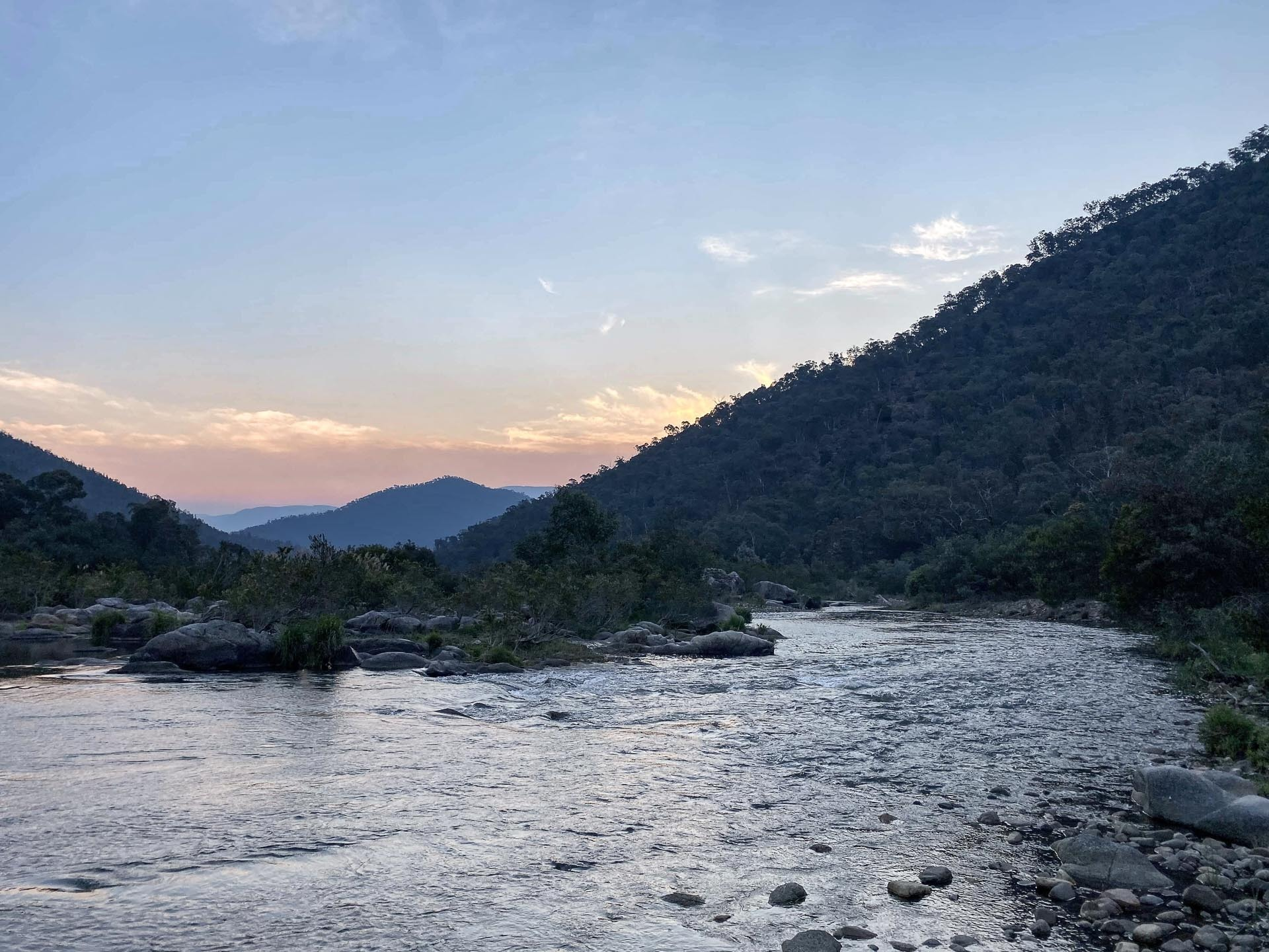Sunset on the lower snowy river at the end of the Pilot Wilderness Thru-Hike, 5 Stellar Overnight & Multi Day Hikes in Kosciuszko National Park, Kate Donald, Kosciuszko National Park, NSW