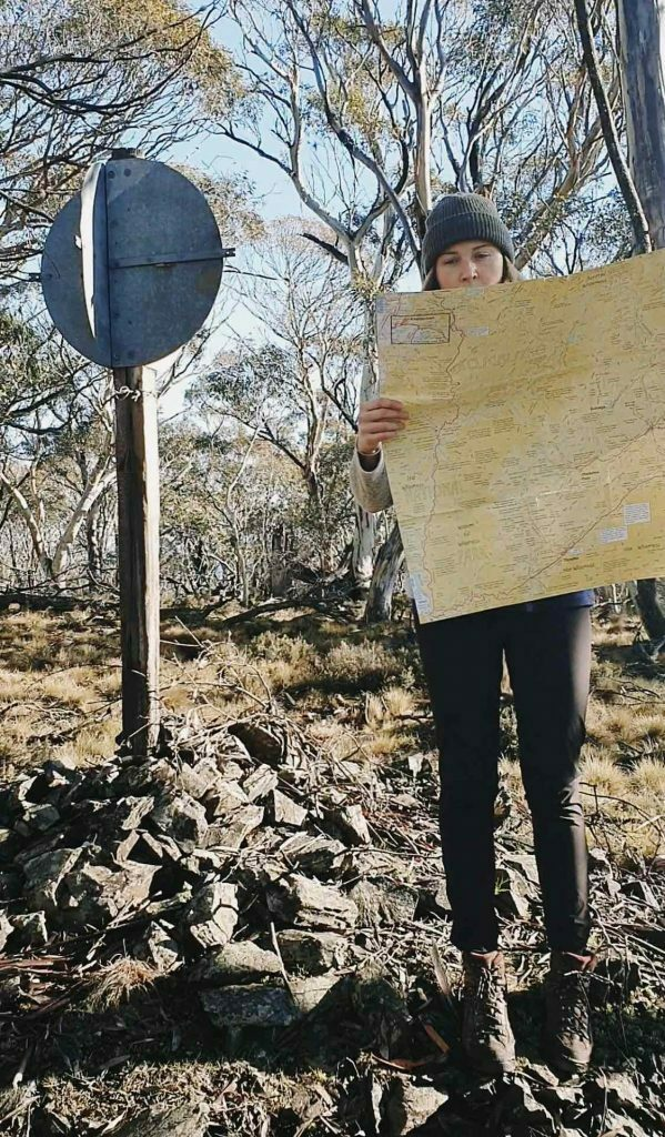 A Beginner's Guide to Off-track Hiking, Kate Donald, woman, map, navigation, Snowy Mountains, sign