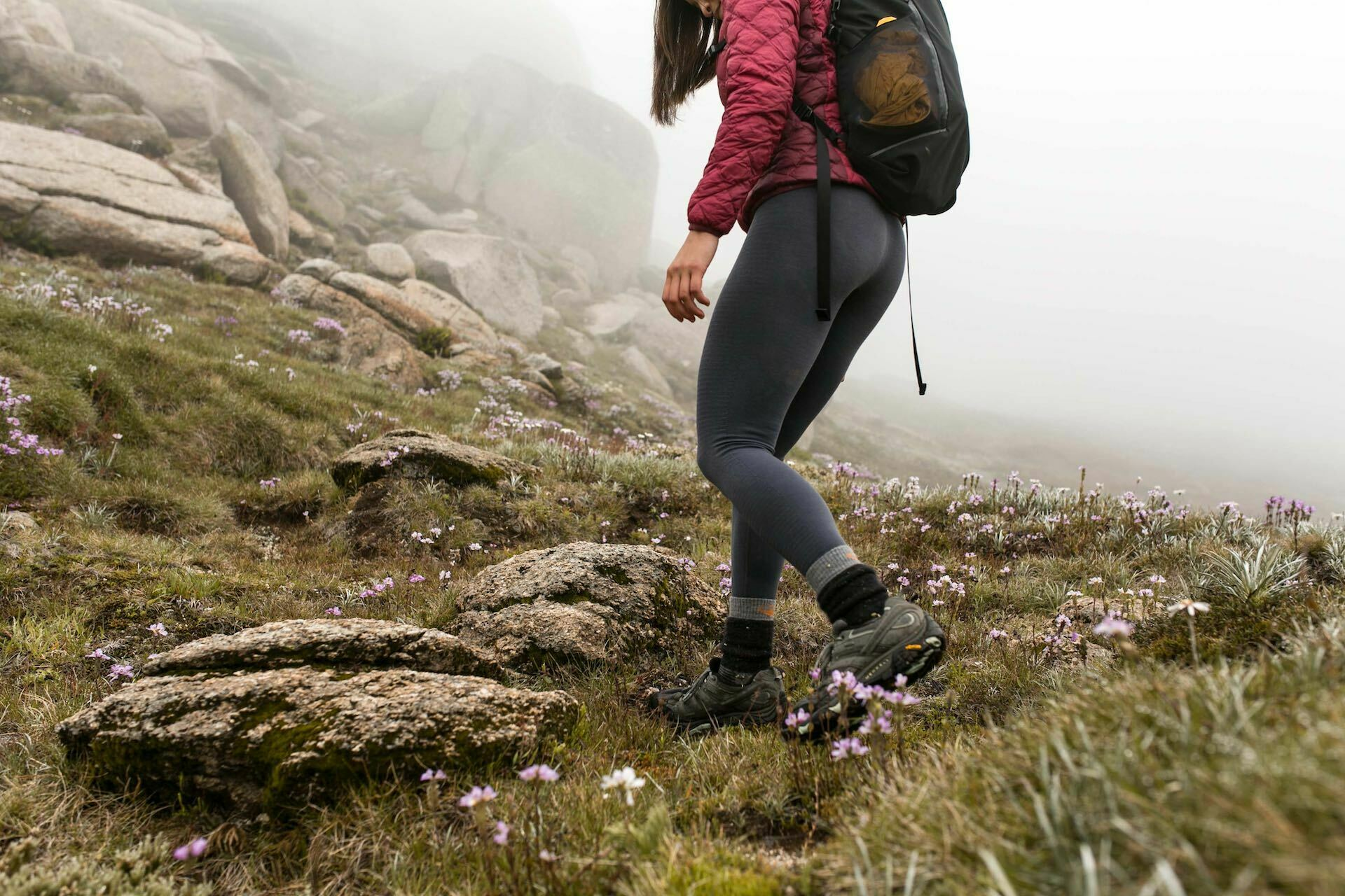 Women's Cool-Lite™ Merino Motion Seamless High Rise Tights Gear Review, photo by Thuc Do, wildflowers, mist, mountains, hike