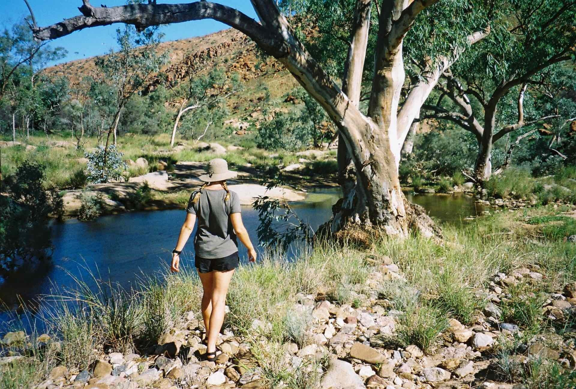 10 Things You Need to Know Before Hiking The Larapinta Trail, Ruby Claire, Central Australia, woman, hike, river, tree