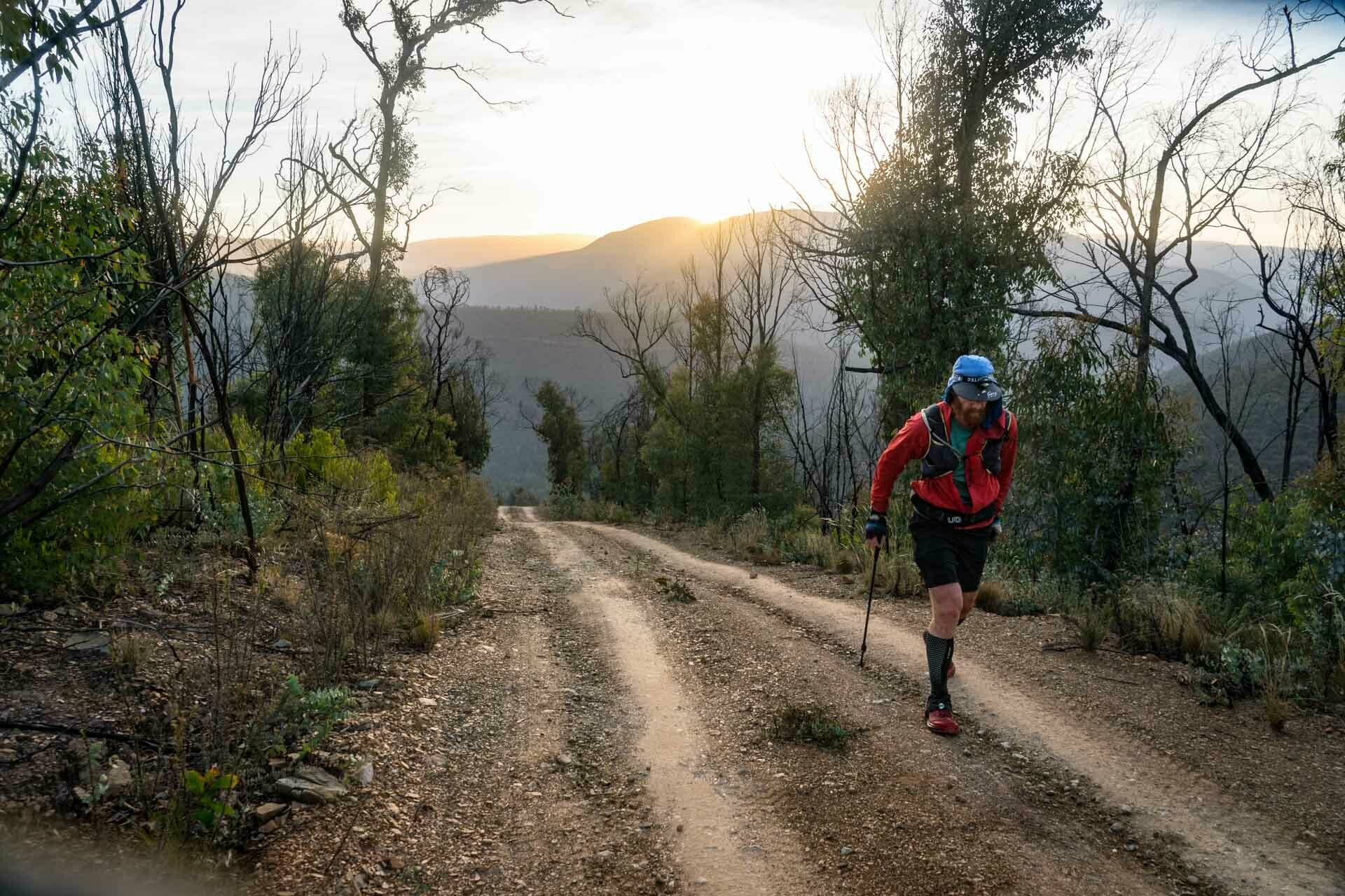 McMillans Walking Track, Beau Miles, shot by Chris ord, trail running, sunrise, uphill, Victoria, victorian high country
