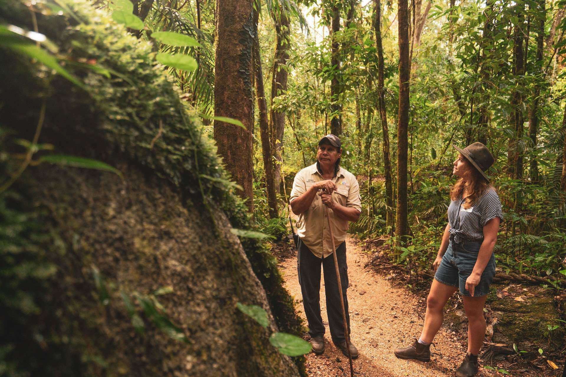 Connect to Country on a Mossman Gorge Dreamtime Walk, photo by Mitch Cox, Indigenous, tour, rainforest, people