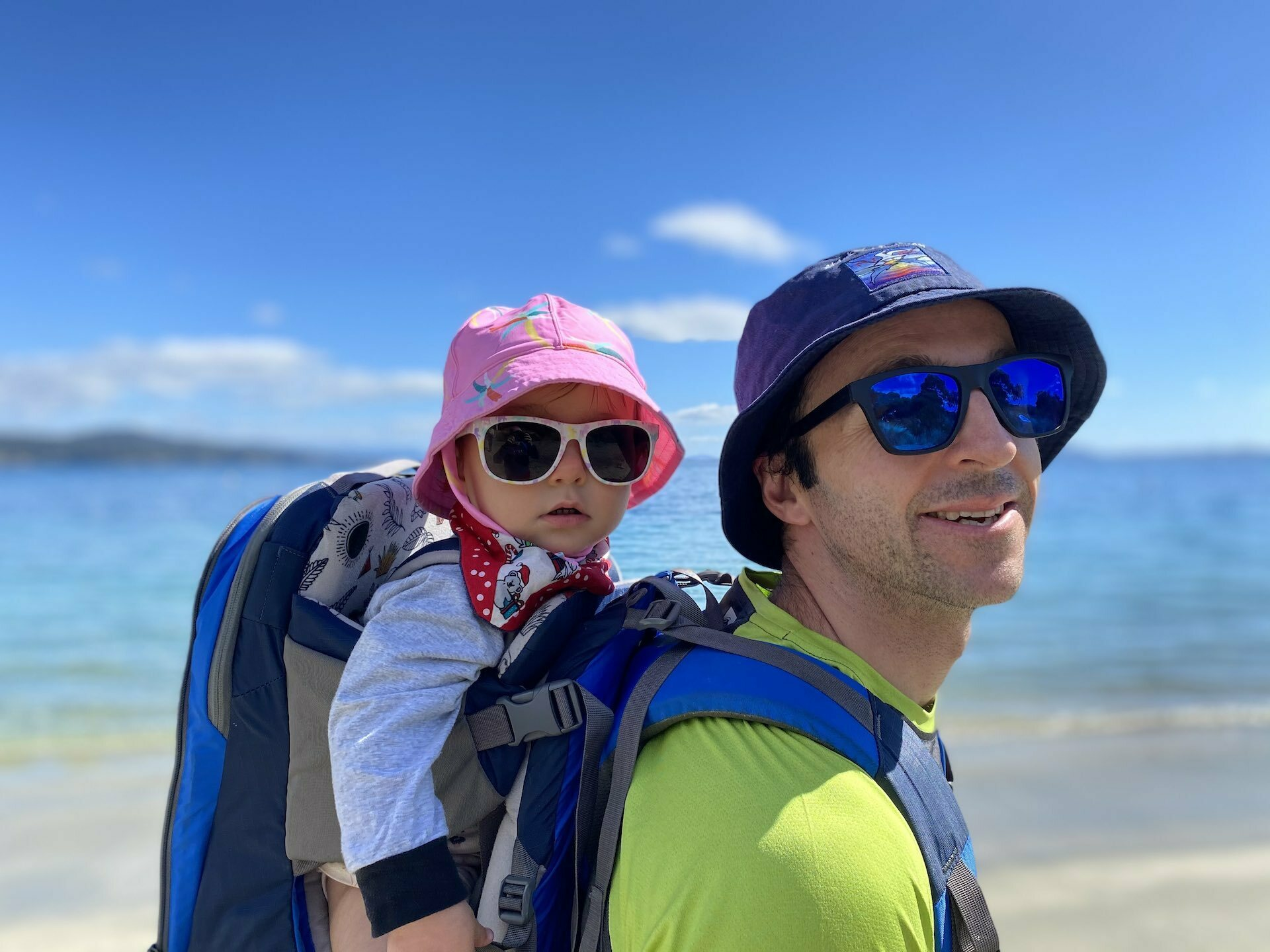 How To Travel Tasmania With Your Adventure Family - Sarah Tayler, Family, beach, children, dad, sunglasses